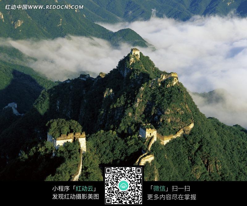 俯视角度的长城图片_名胜古迹图片