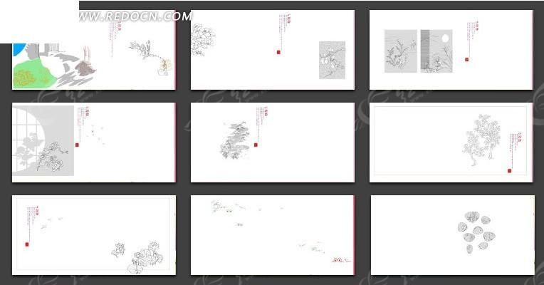 手绘花纹线稿相册模版