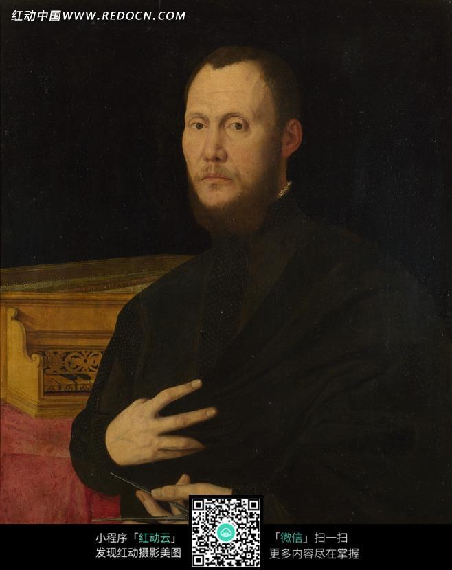 男人 黑色/手摸胸口黑色衣服的男人油画
