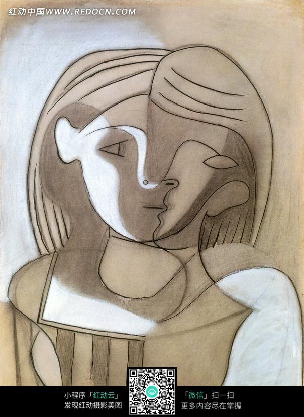 手绘画 拥抱贴合的情侣图片