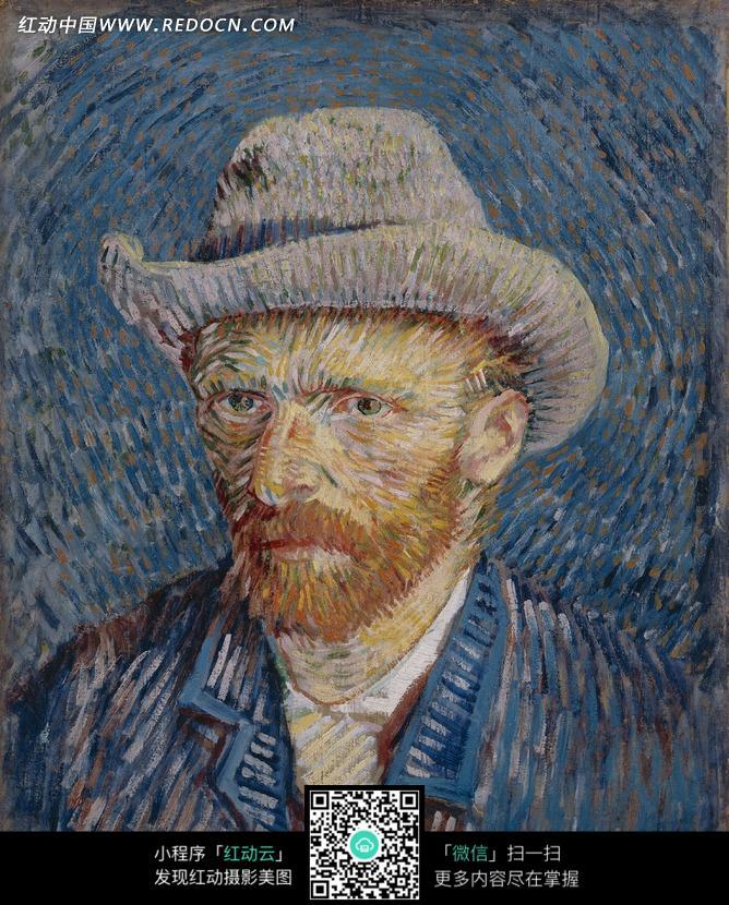 戴着帽子的胡须男人头像油画