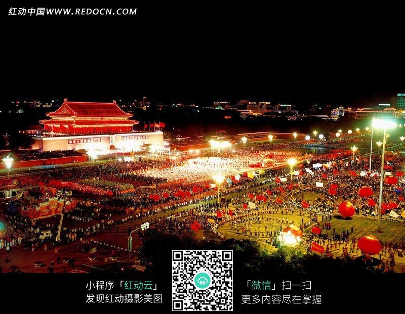 美丽的天安门广场夜景图片