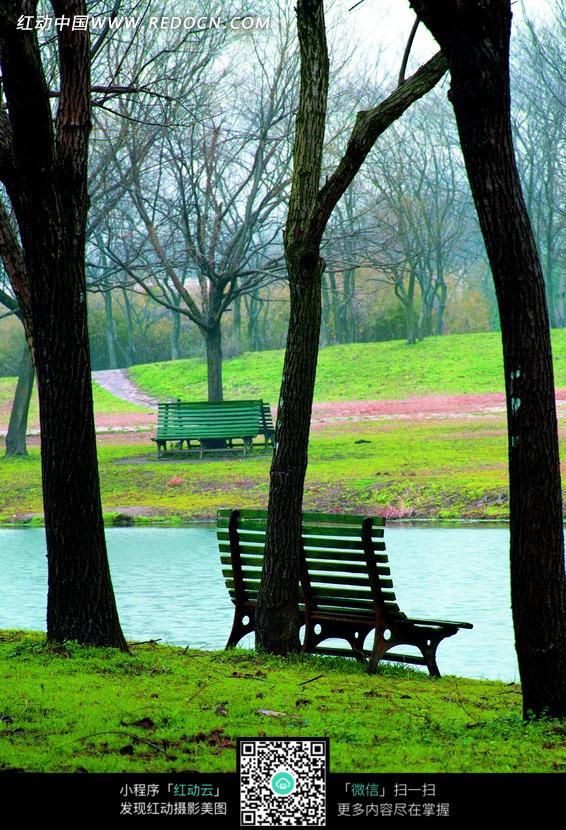 免费素材 图片素材 自然风光 自然风景 河边草地上的长椅