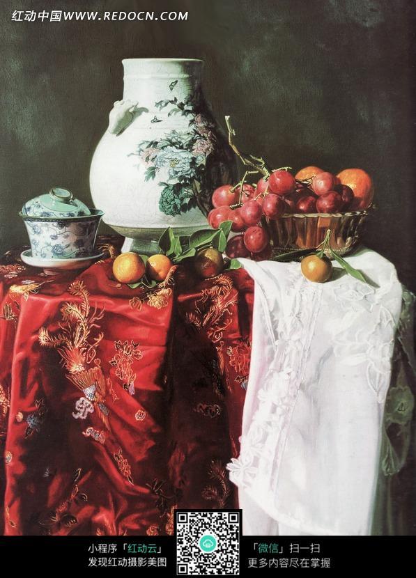 油画—桌子上的水果和瓷器图片