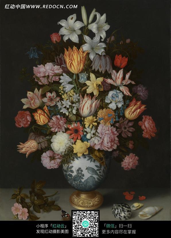 灰色桌面 美丽的插花 瓷瓶 花瓶 花朵 花瓣 百合花 静物 写实 油画图片