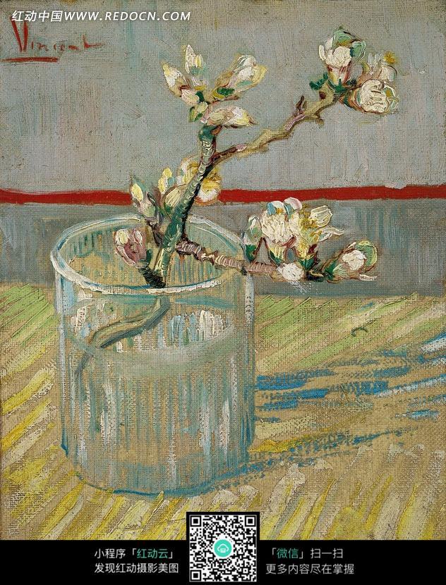 图片素材 文化艺术 书画文字 油画—插在透明水杯里开花的树枝