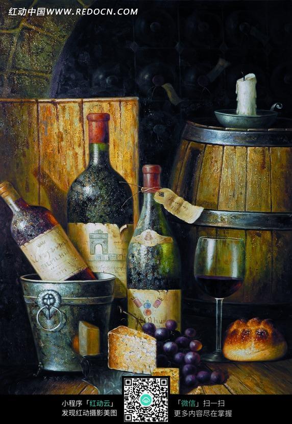 地板上的红酒瓶和酒桶油画