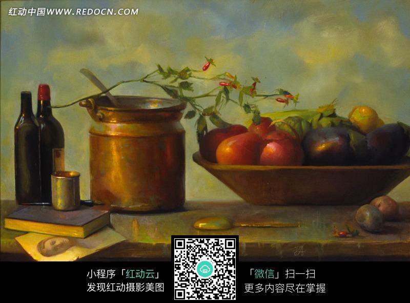静物油画—桌面上的水果盘和瓶子图片