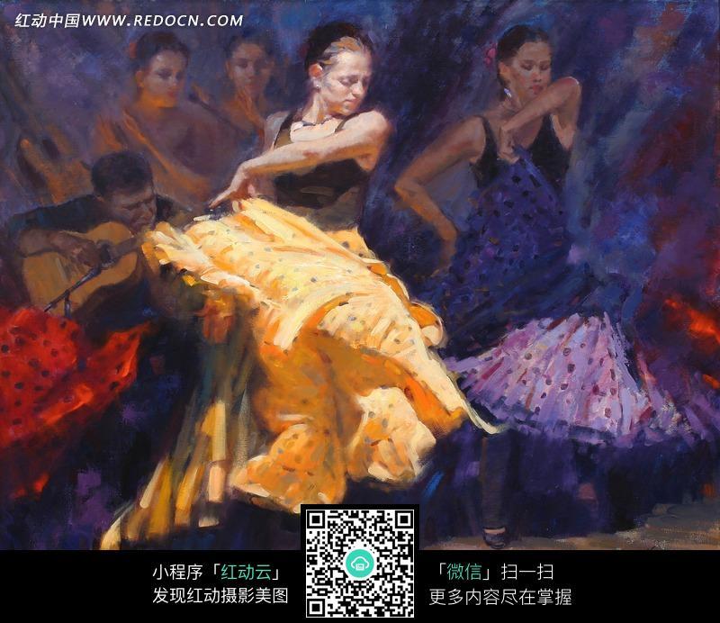 油画跳大摆裙舞的外国美女图片