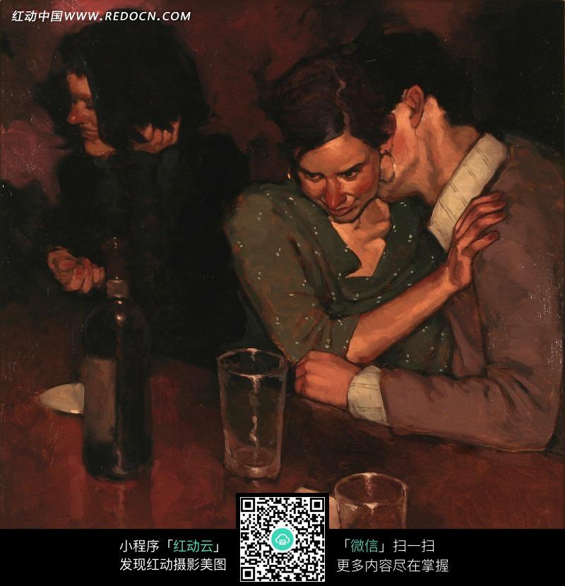 油画 亲吻着女人脖子的男人图片