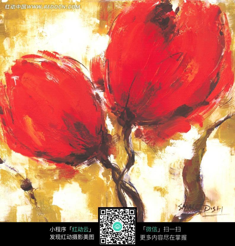 两朵漂亮的大红花油画图片