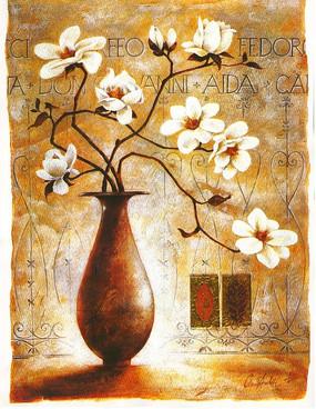 手绘插着白百合花的花瓶绘画作品