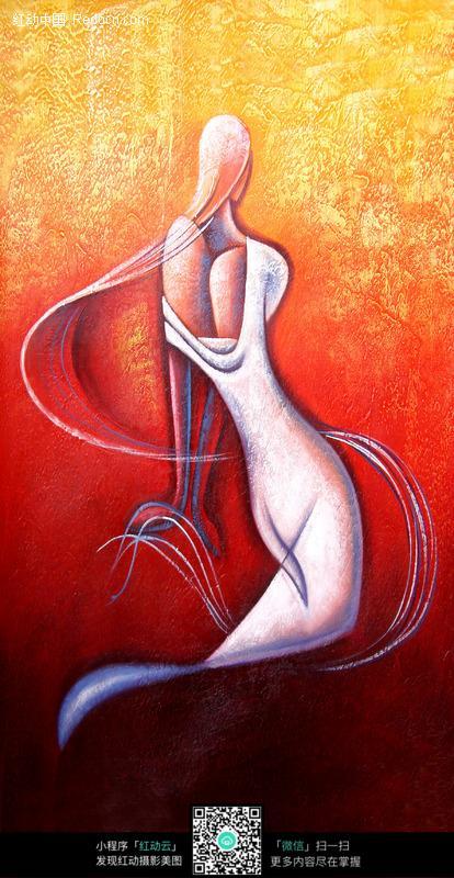手绘抽象美人鱼插画图形图片高清图片