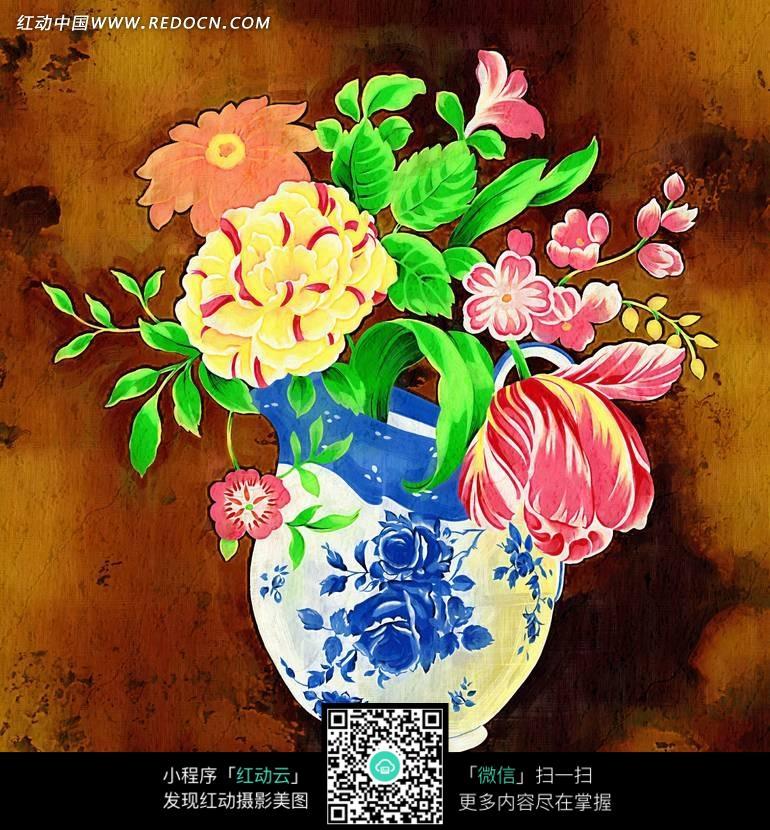 抽象画—青花瓷瓶子里的艳丽插花