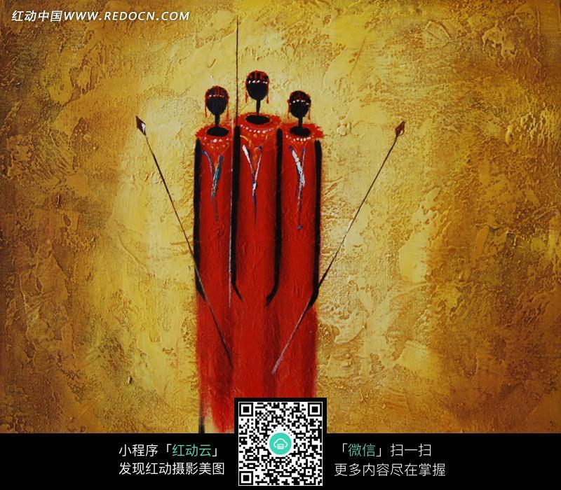 手绘红色抽象人物插画图形图片