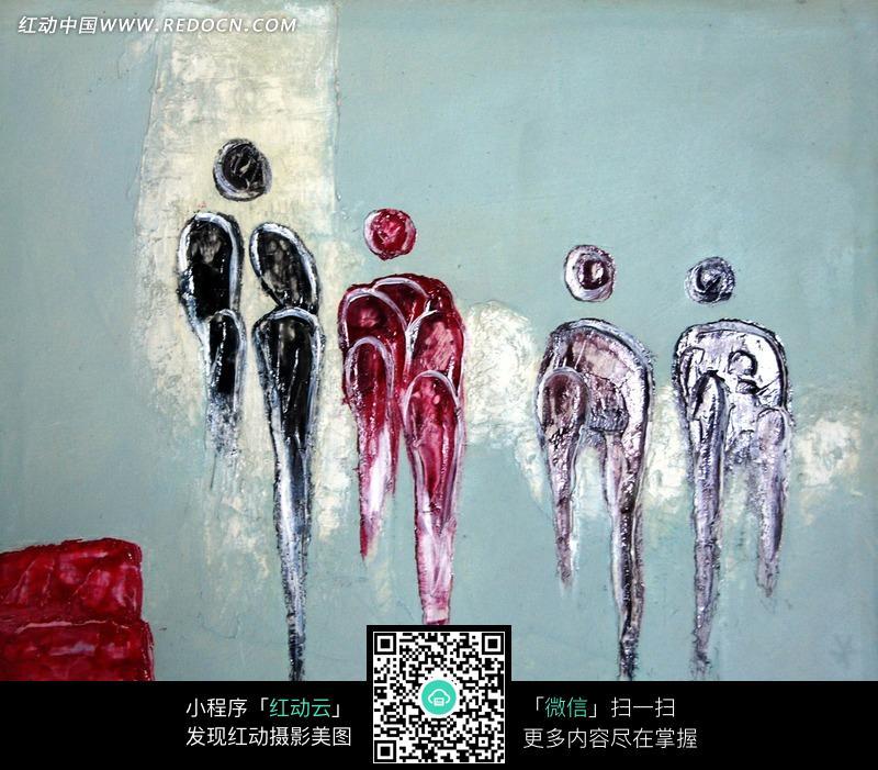 手绘抽象人物水彩画