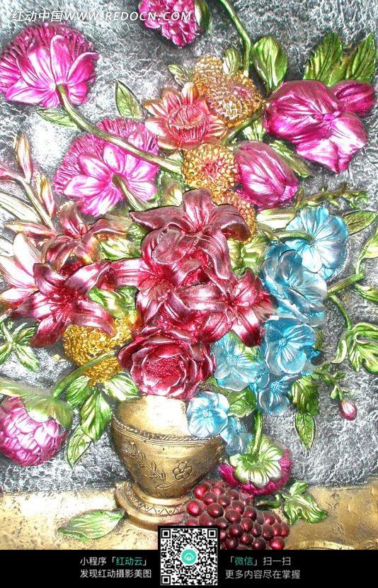 手绘彩色花朵花卉油画