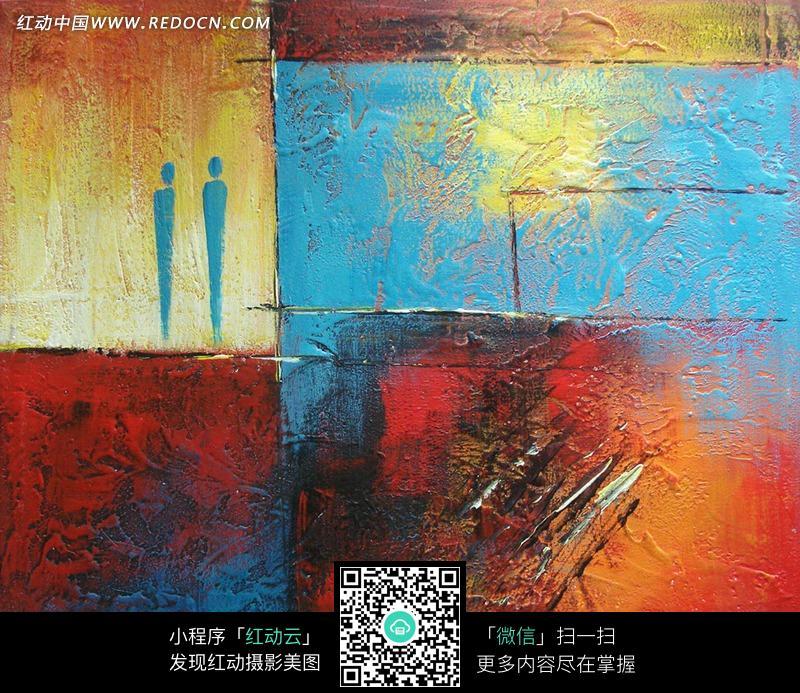 大红浅兰黄块状背景兰色抽象人物画作品图片