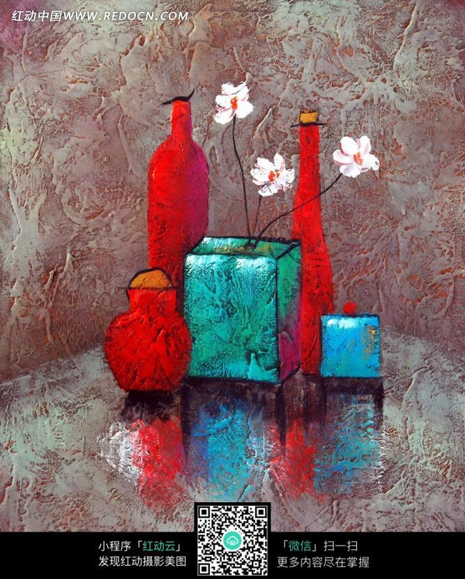 手绘彩色花瓶白色花瓣插画图片