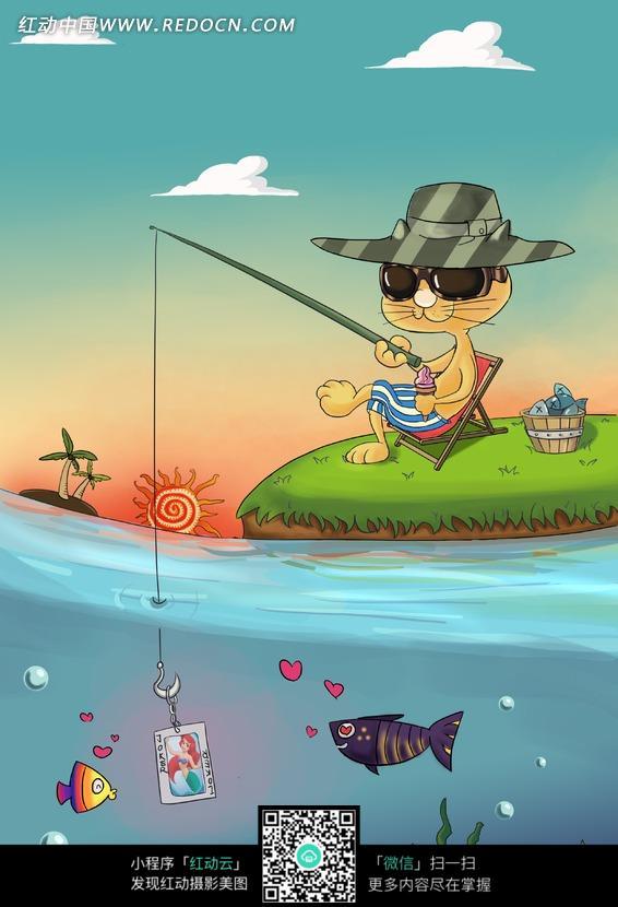 水边 钓鱼的猫咪插画图片 传统书画 吉祥图案 艺