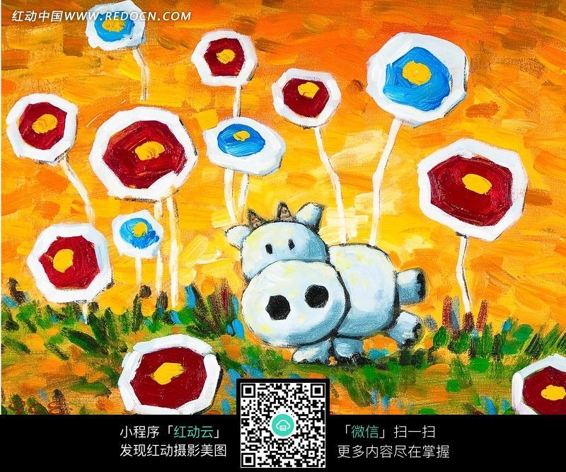 油画鲜花草原上的卡通奶牛图片