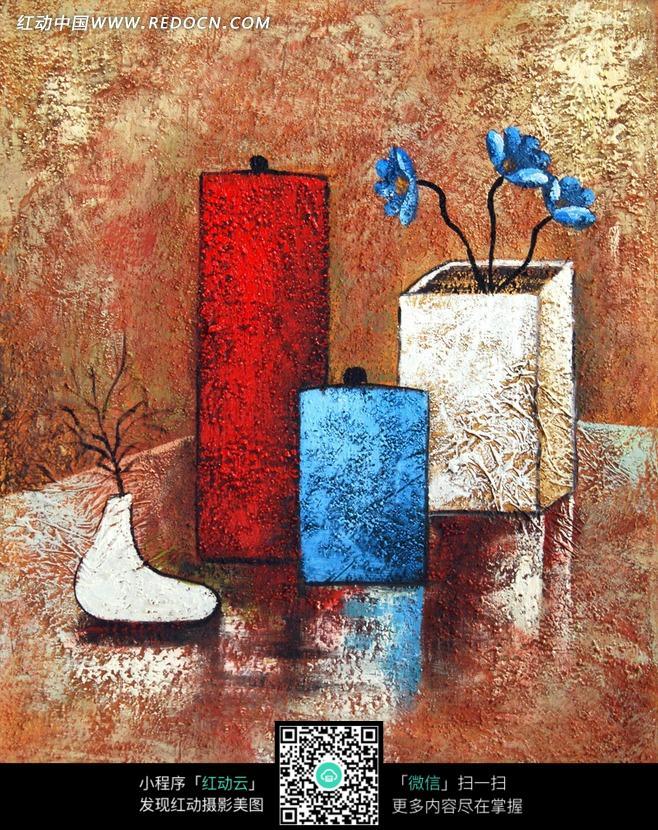 手绘创意花瓶花朵插画图片