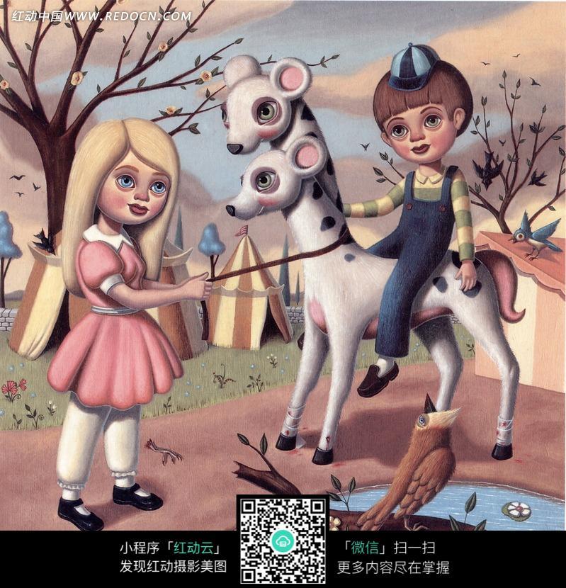 骑着双头动物的男孩和牵着缰绳的女孩插画