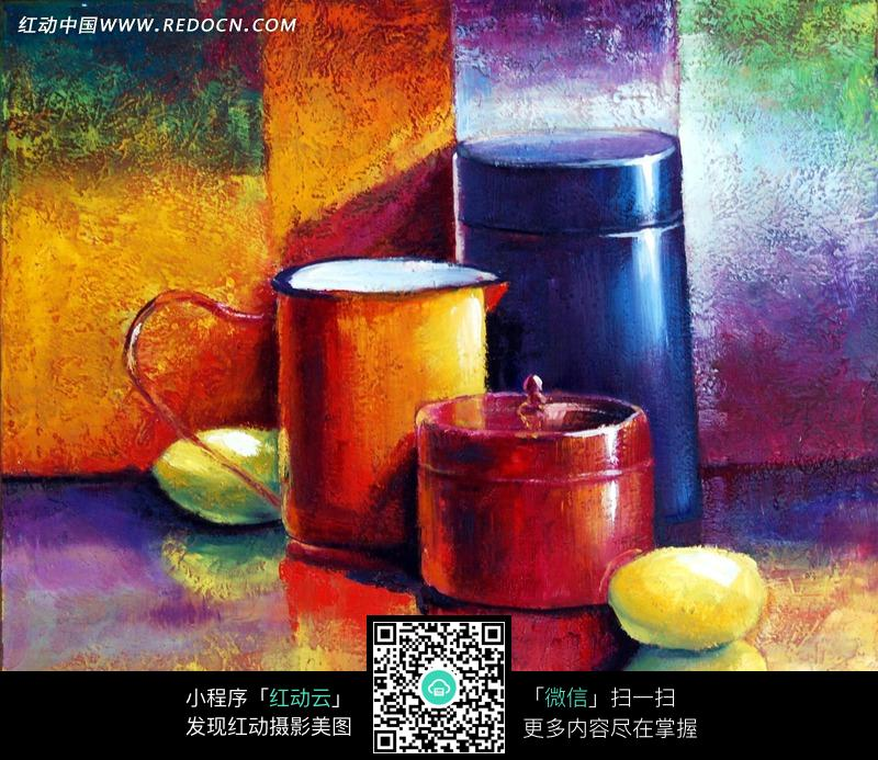 手绘彩色餐具水彩画