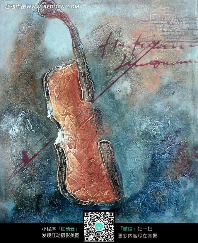 油画小提琴和琴弦图片图片