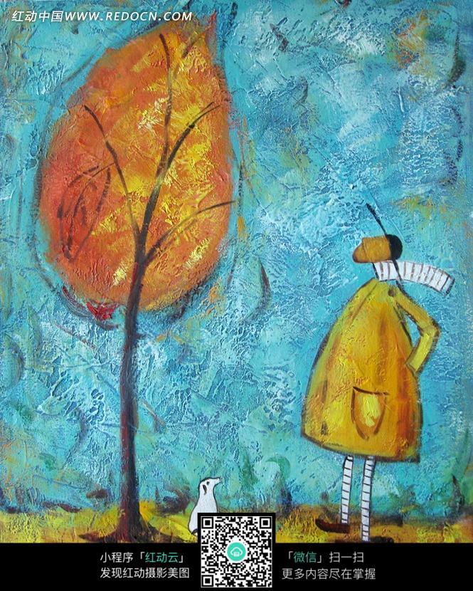 手绘抬头看树木的人物水粉画