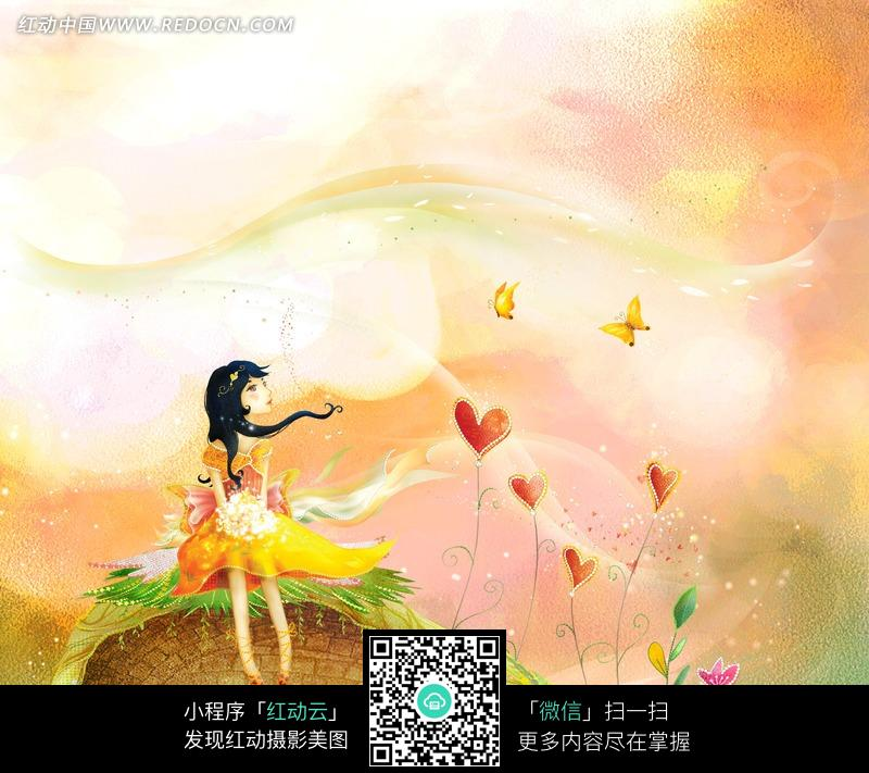 手绘围墙上手捧鲜花的女孩