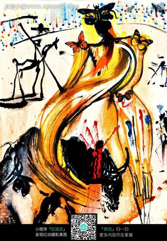 手绘彩色抽象女士水彩画图片