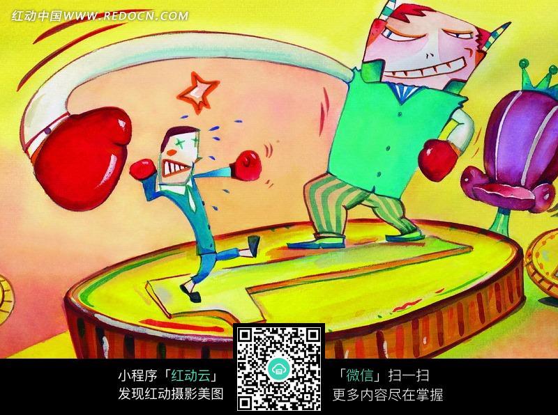 手绘抽象拳击人物卡通图形图片