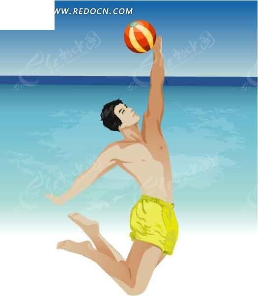 海边打排球的卡通人物