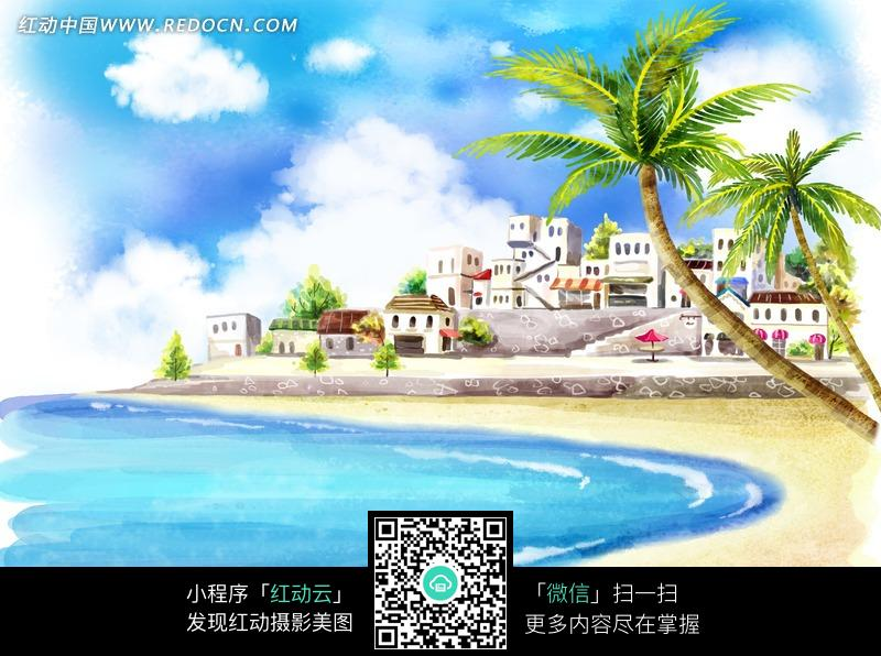 椰子树 蓝天白云 插画 彩色插画 插画素材 绘画艺术 自然风光 风景