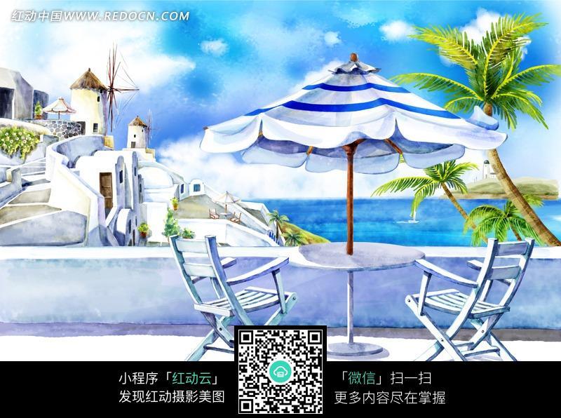 海边的太阳伞和桌椅插画