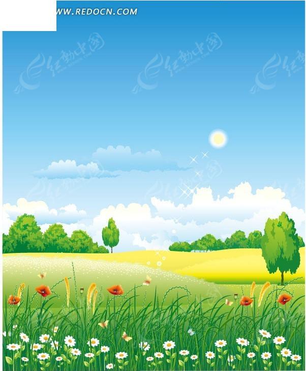 草地花朵矢量风景图片