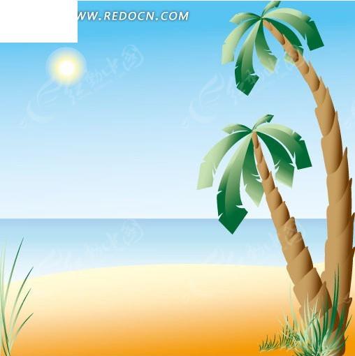 美丽沙滩上的椰子树卡通画