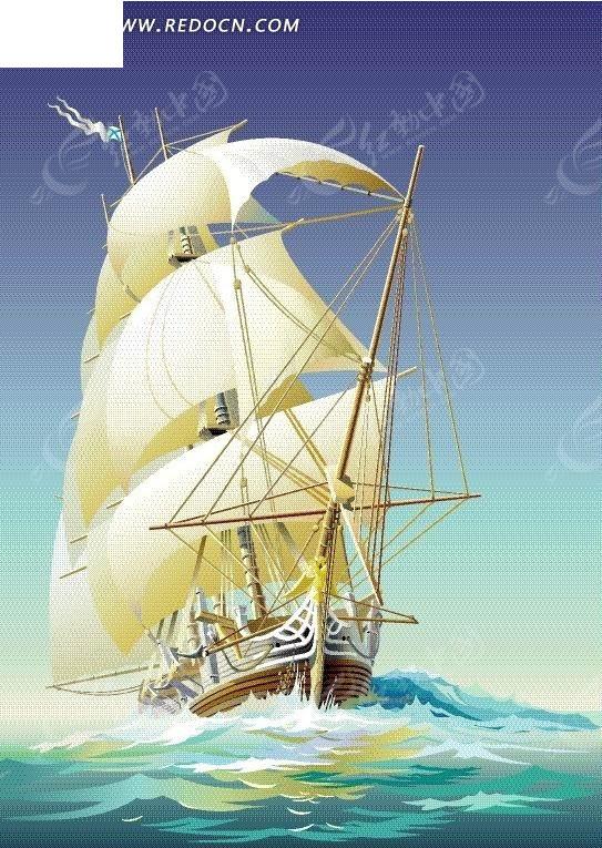 海面上的帆船卡通画
