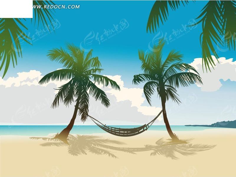 沙滩上的吊床卡通画