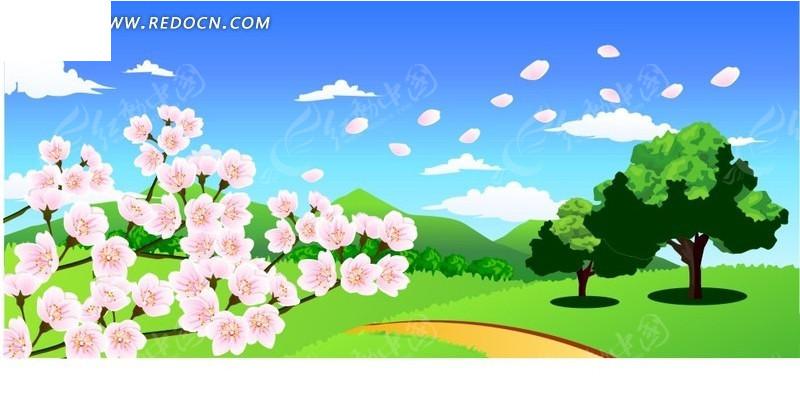 花朵 蓝天白云 树木 花瓣 草原 卡通画 插画 手绘 矢量素材  风景图