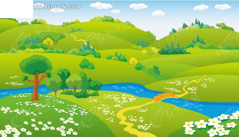 美丽的山坡和溪流卡通画