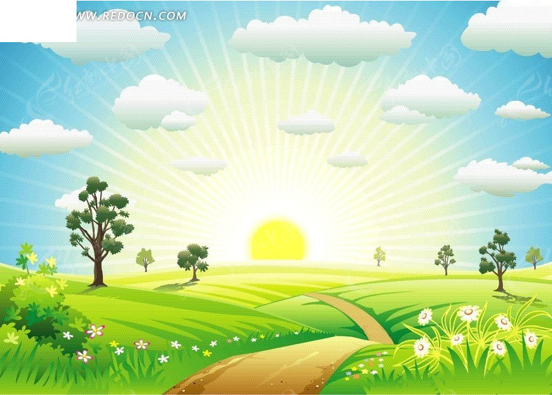 阳光下的草原卡通画