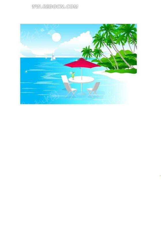 手绘唯美午后海滩ai素材免费下载(编号1369075)_红动网