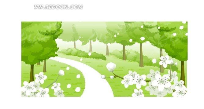 树木 花朵 草地 小路 卡通画 插画 手绘 矢量素材  风景图片 自然风光