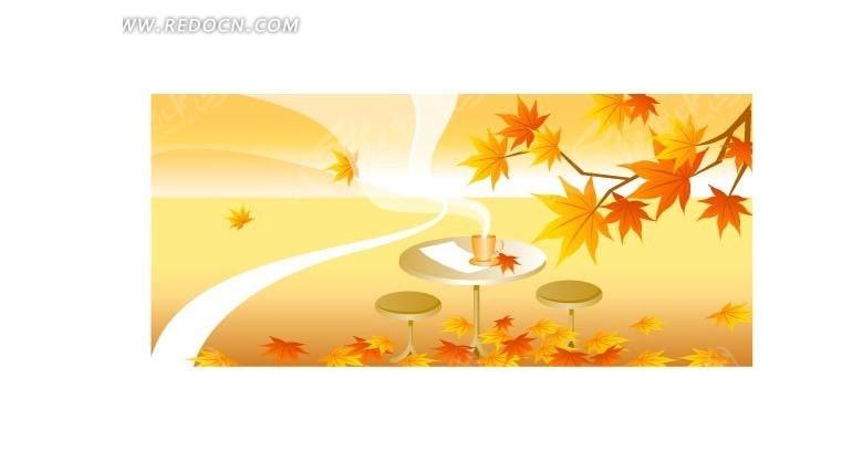 手绘秋季枫叶