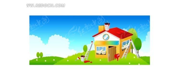 绿地蓝天白云; 卡通房子矢量素材