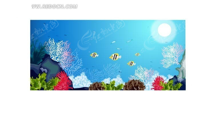 海底世界 珊瑚 海鱼 鱼 蓝色 插画 手绘 矢量素材  风景图片 自然风光