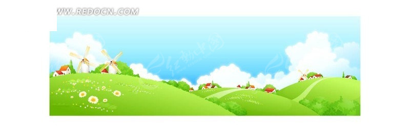 手绘蓝天白云下绿色草地和风车小屋