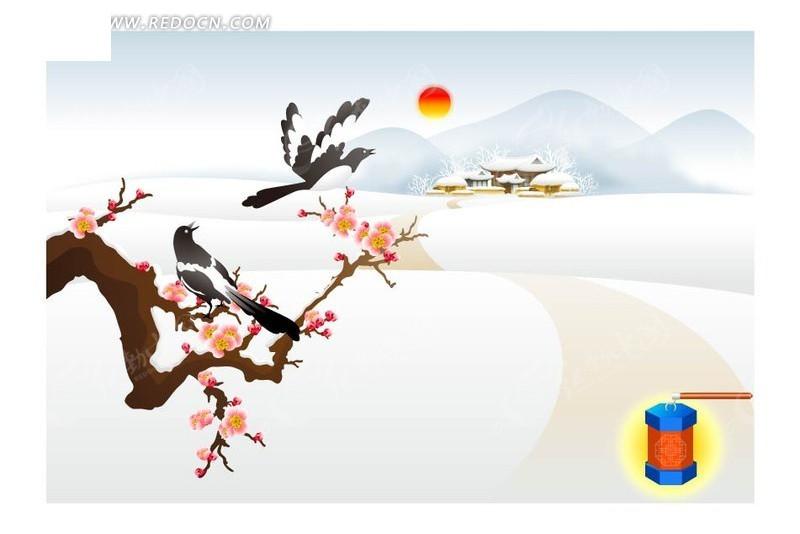 卡通画-站在梅花枝头的两只小鸟